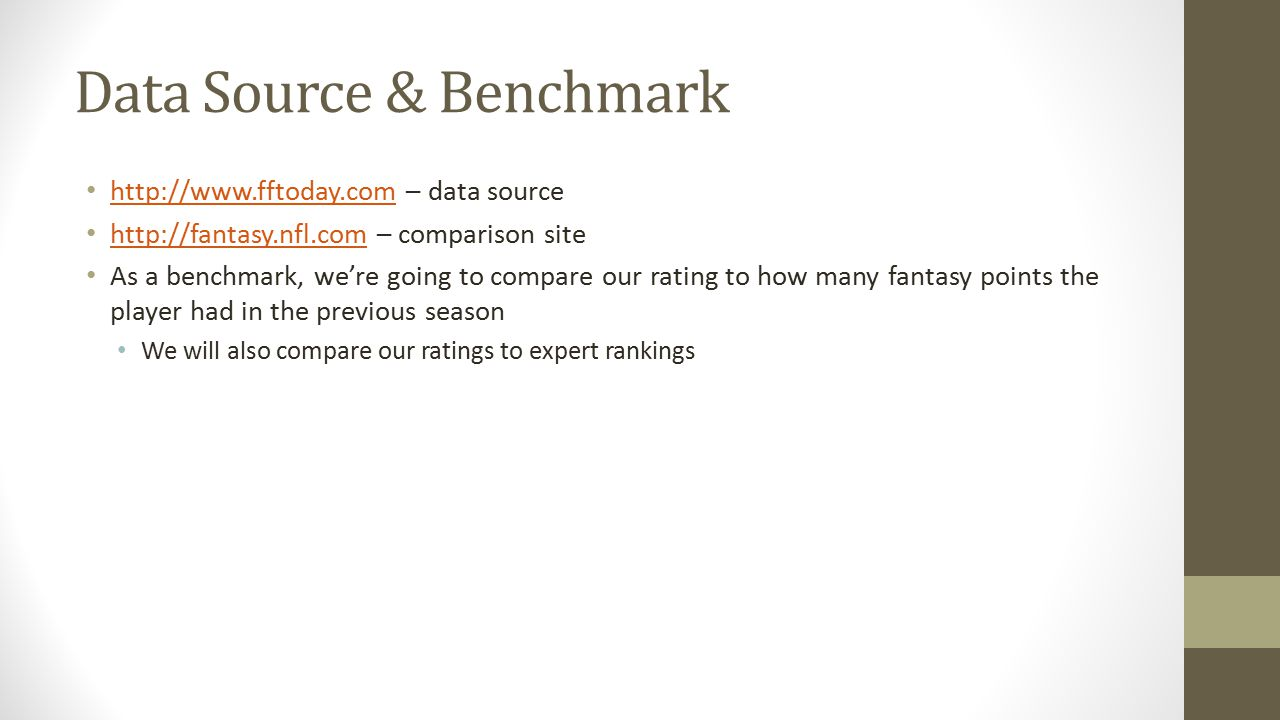 Data Source & Benchmark http://www.fftoday.com – data source http://www.fftoday.com http://fantasy.nfl.com – comparison site http://fantasy.nfl.com As