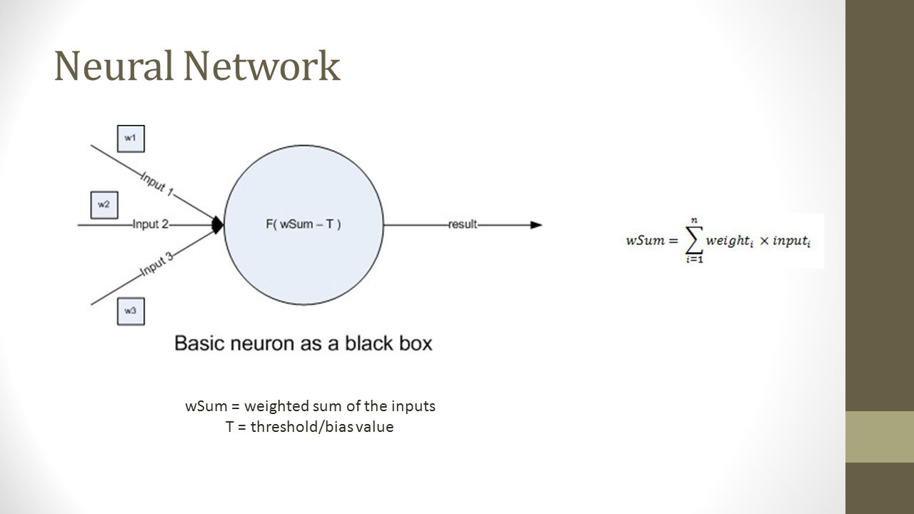 Neural Network wSum = weighted sum of the inputs T = threshold/bias value
