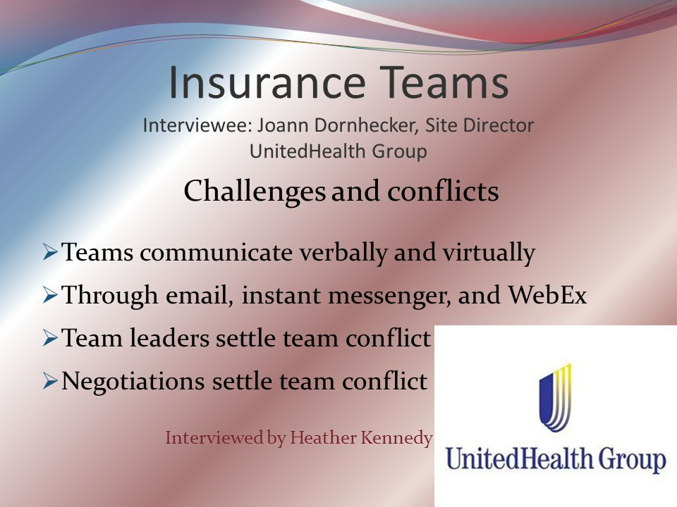 Insurance Teams Interviewee: Joann Dornhecker, Site Director UnitedHealth Group Challenges and conflicts  Teams communicate verbally and virtually  Through email, instant messenger, and WebEx  Team leaders settle team conflict  Negotiations settle team conflict Interviewed by Heather Kennedy