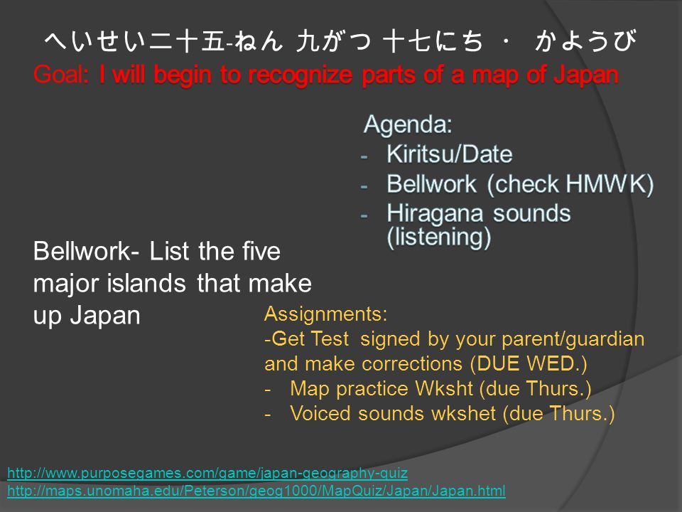 へいせい二十五 - ねん 九がつ 十七にち ・ かようび Bellwork- List the five major islands that make up Japan Assignments: -Get Test signed by your parent/guardian and make corrections (DUE WED.) -Map practice Wksht (due Thurs.) -Voiced sounds wkshet (due Thurs.) http://www.purposegames.com/game/japan-geography-quiz http://maps.unomaha.edu/Peterson/geog1000/MapQuiz/Japan/Japan.html