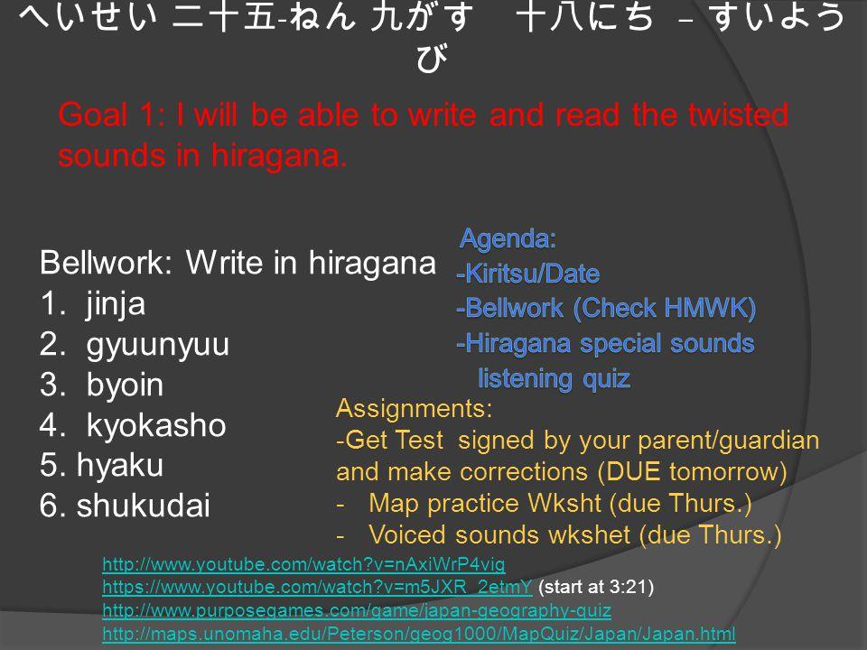 へいせい 二十五 - ねん 九がす 十八にち – すいよう び Goal 1: I will be able to write and read the twisted sounds in hiragana.