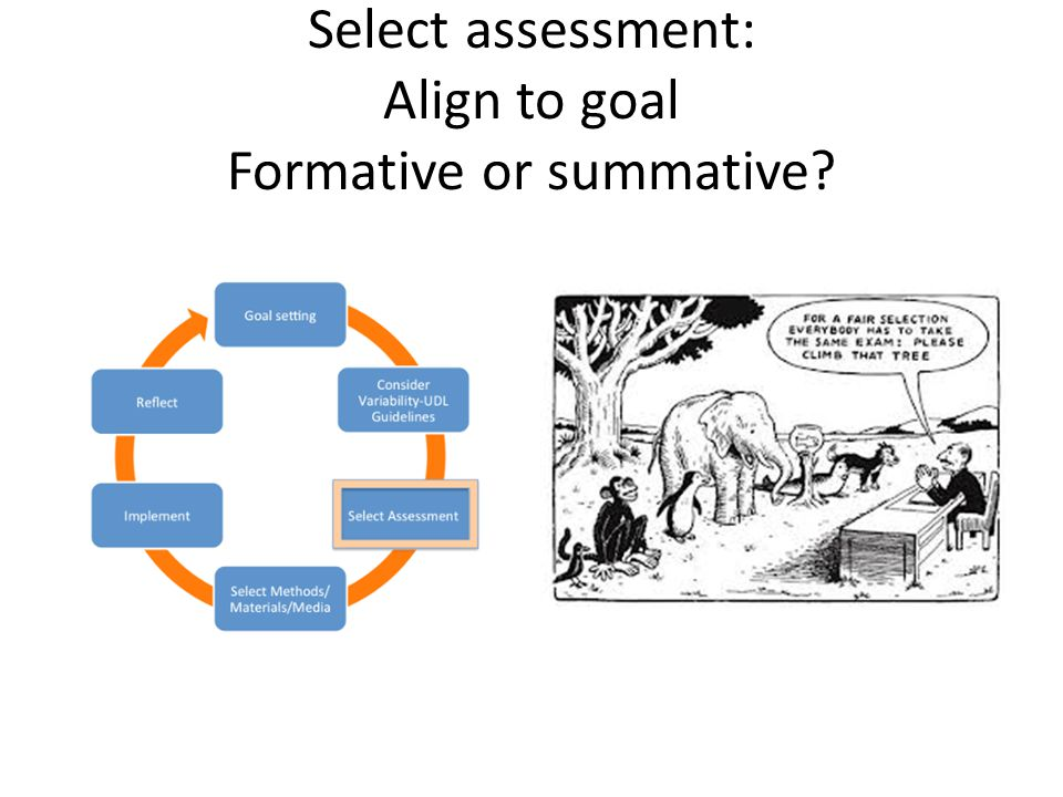Select assessment: Align to goal Formative or summative