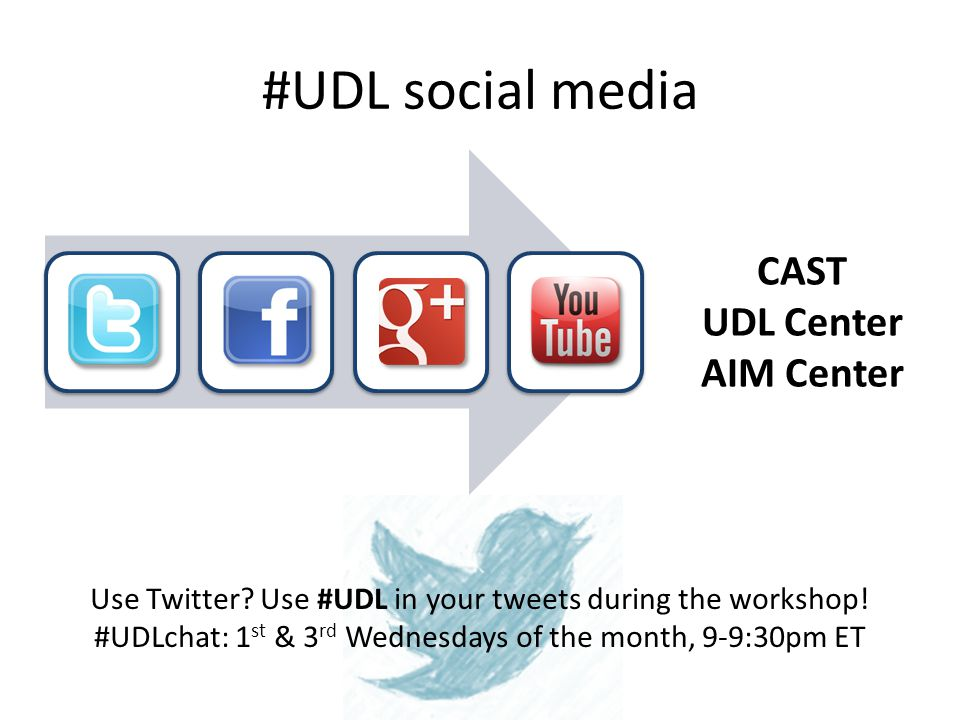 #UDL social media CAST UDL Center AIM Center Use Twitter.