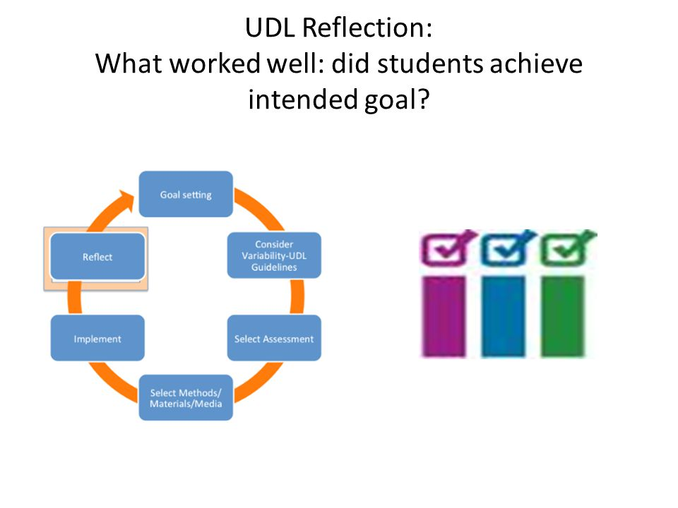 UDL Reflection: What worked well: did students achieve intended goal?