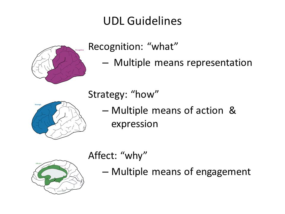 UDL Guidelines Recognition: what – Multiple means representation Strategy: how – Multiple means of action & expression Affect: why – Multiple means of engagement