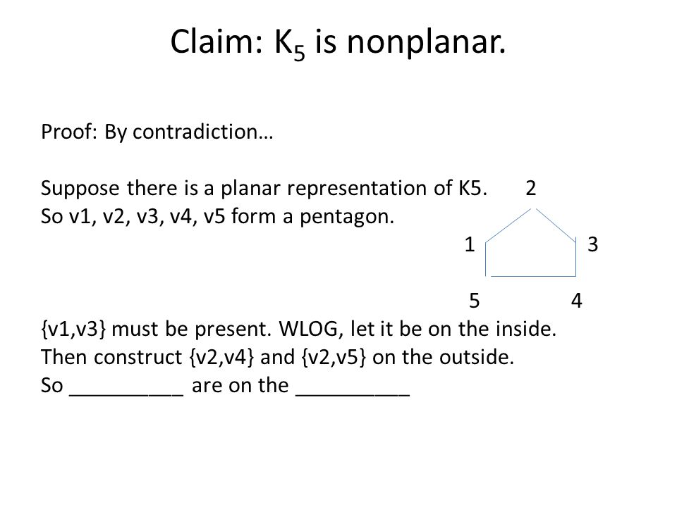 Claim: K 5 is nonplanar. Proof: By contradiction… Suppose there is a planar representation of K5.