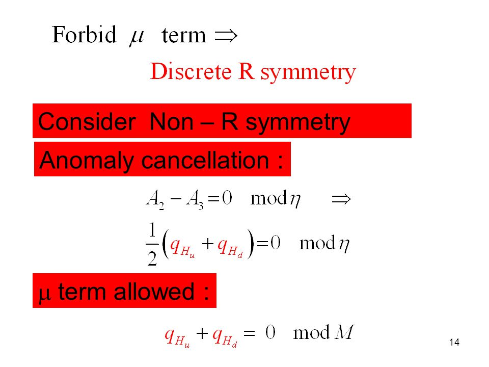 Title of talk14 Consider Non – R symmetry Anomaly cancellation :  term allowed :