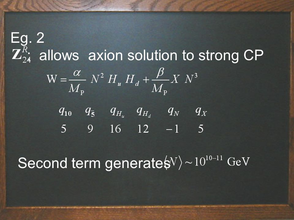 Eg. 2 : allows axion solution to strong CP Second term generates