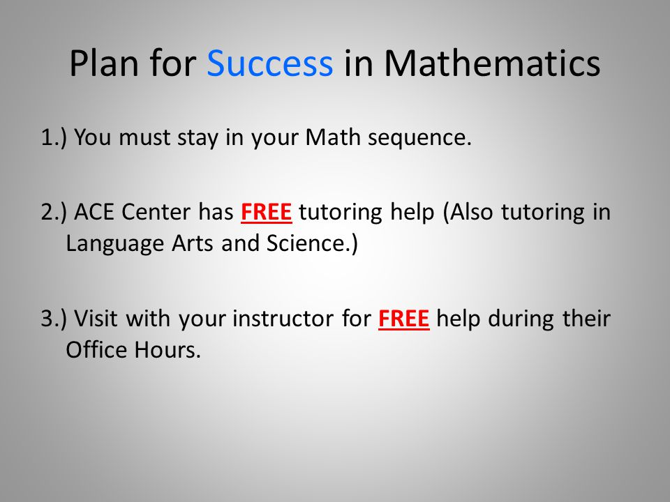 Plan for Success in Mathematics 1.) You must stay in your Math sequence.