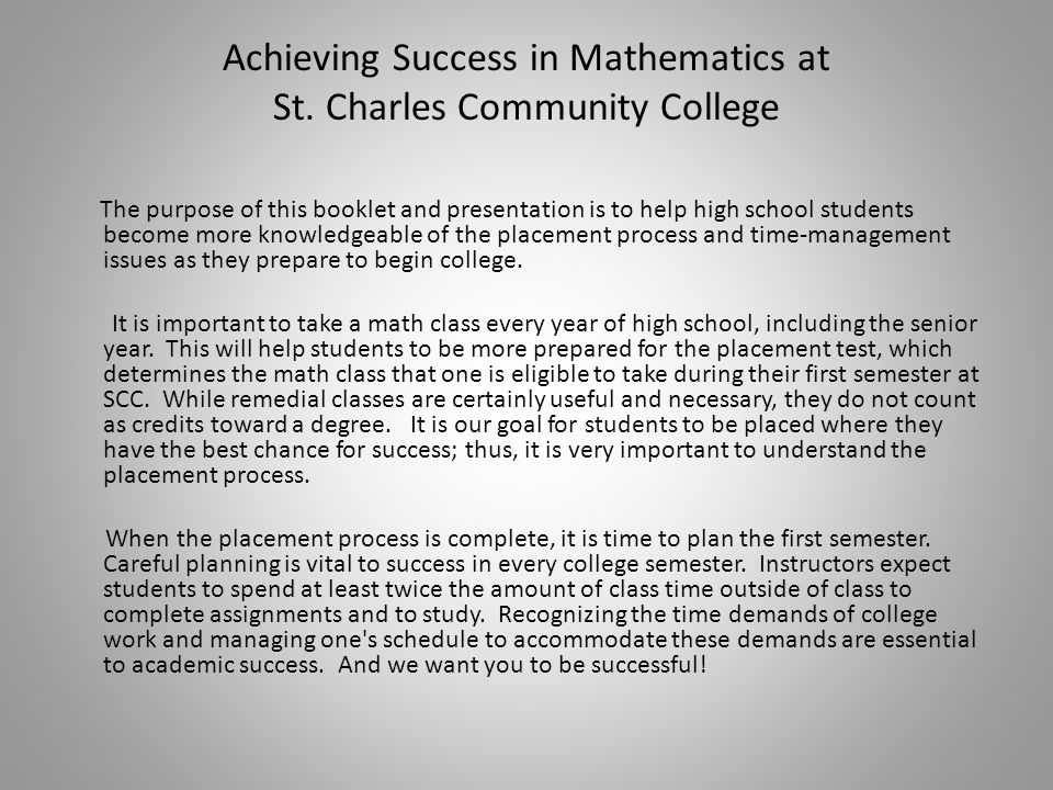 Achieving Success in Mathematics at St.
