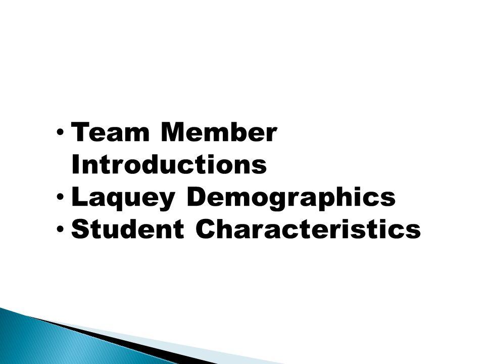 Team Member Introductions Laquey Demographics Student Characteristics