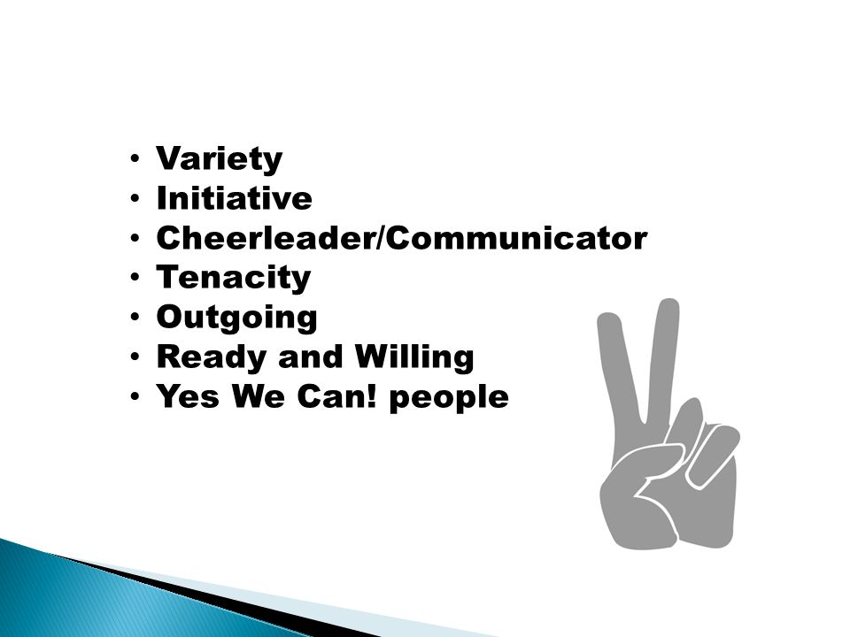 Variety Initiative Cheerleader/Communicator Tenacity Outgoing Ready and Willing Yes We Can! people