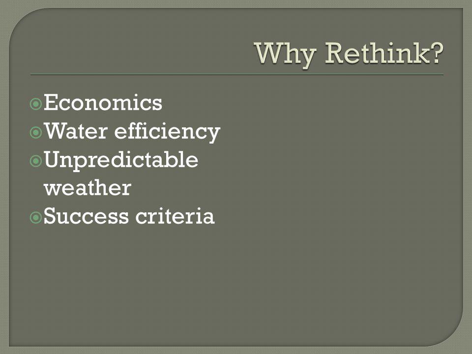  Economics  Water efficiency  Unpredictable weather  Success criteria