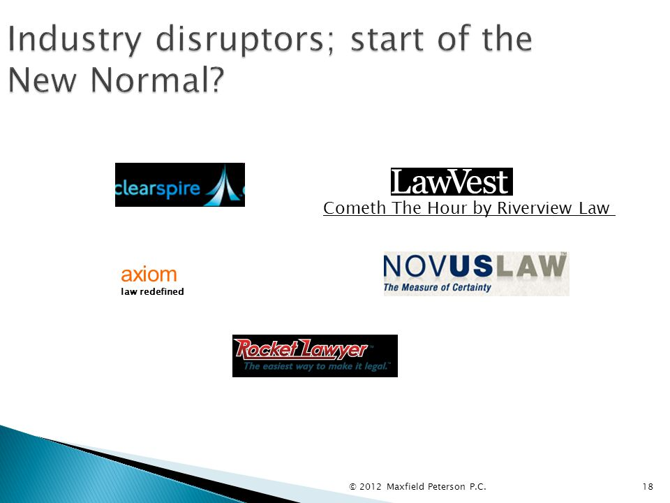 © 2012 Maxfield Peterson P.C.18 Industry disruptors; start of the New Normal.