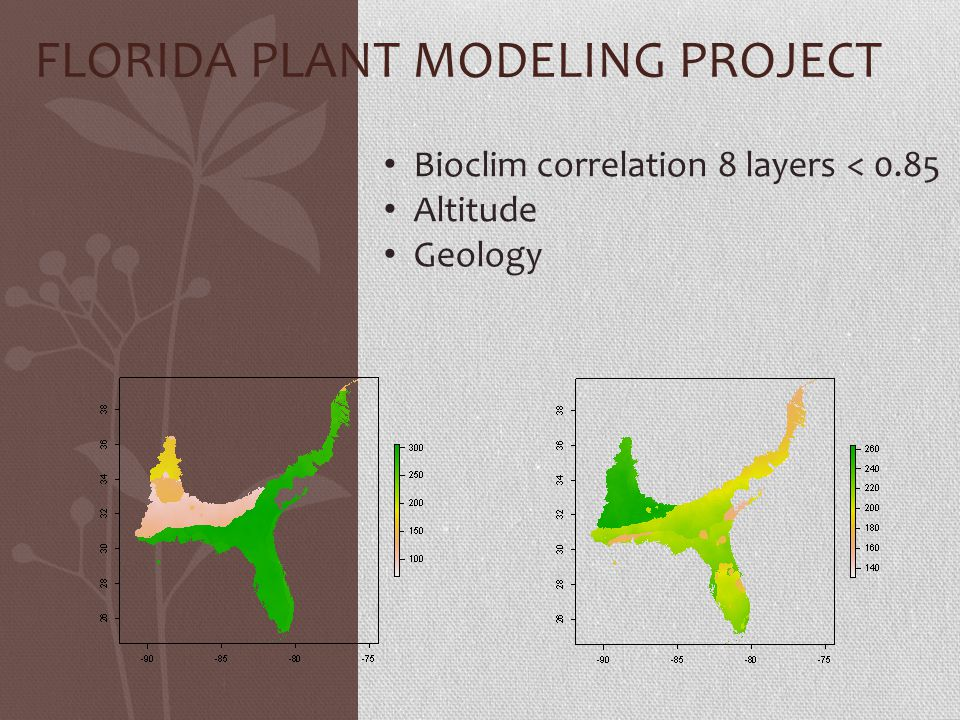 FLORIDA PLANT MODELING PROJECT Bioclim correlation 8 layers < 0.85 Altitude Geology