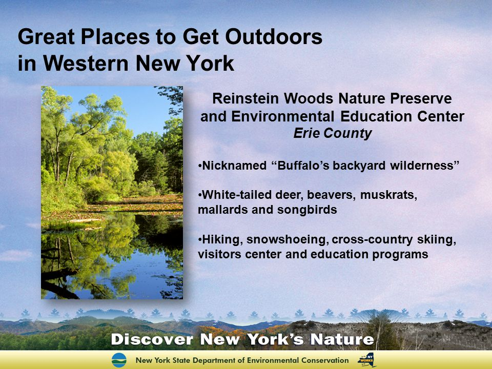 "Great Places to Get Outdoors in Western New York Reinstein Woods Nature Preserve and Environmental Education Center Erie County Nicknamed ""Buffalo's b"