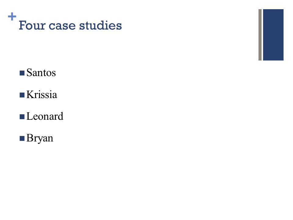 + Four case studies Santos Krissia Leonard Bryan