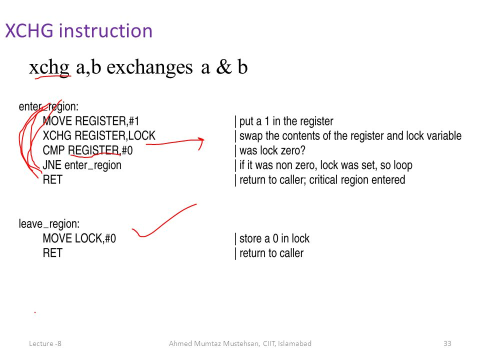 XCHG instruction xchg a,b exchanges a & b Lecture -8Ahmed Mumtaz Mustehsan, CIIT, Islamabad33