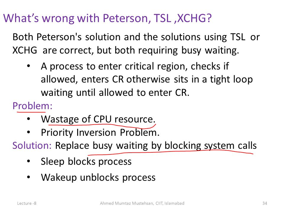 Both Peterson s solution and the solutions using TSL or XCHG are correct, but both requiring busy waiting.