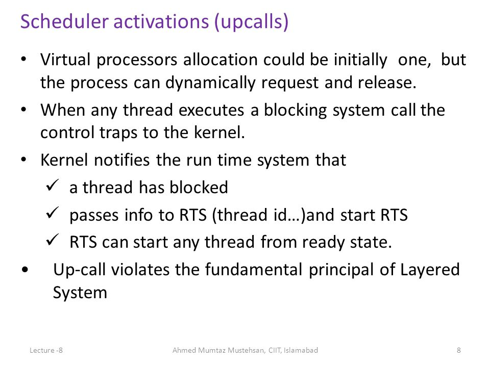 Virtual processors allocation could be initially one, but the process can dynamically request and release. When any thread executes a blocking system