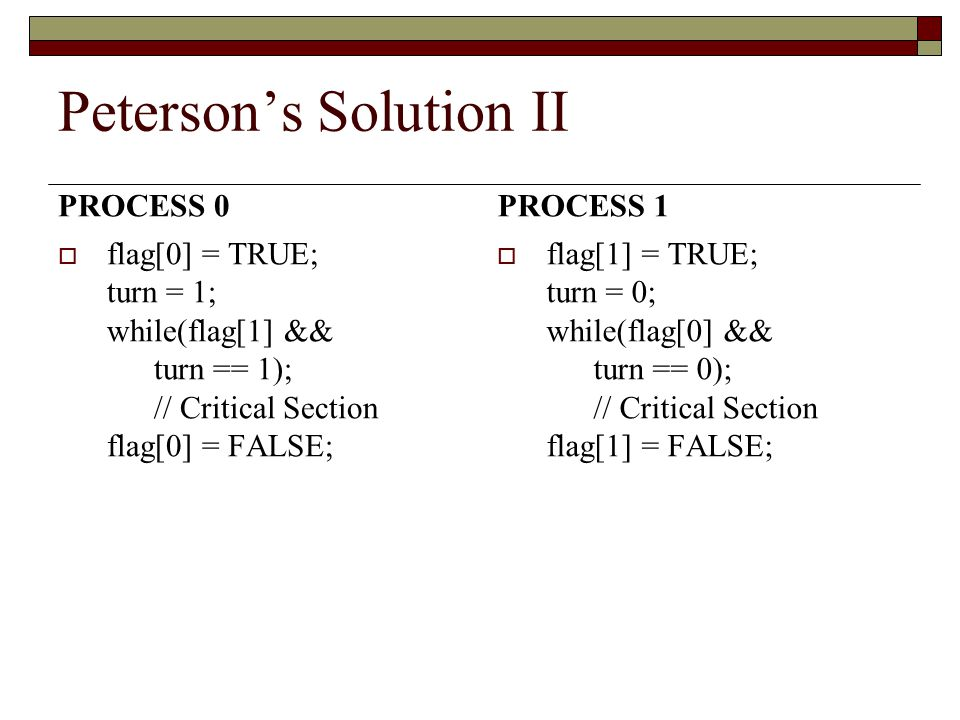 Peterson's Solution II PROCESS 0  flag[0] = TRUE; turn = 1; while(flag[1] && turn == 1); // Critical Section flag[0] = FALSE; PROCESS 1  flag[1] = TRUE; turn = 0; while(flag[0] && turn == 0); // Critical Section flag[1] = FALSE;