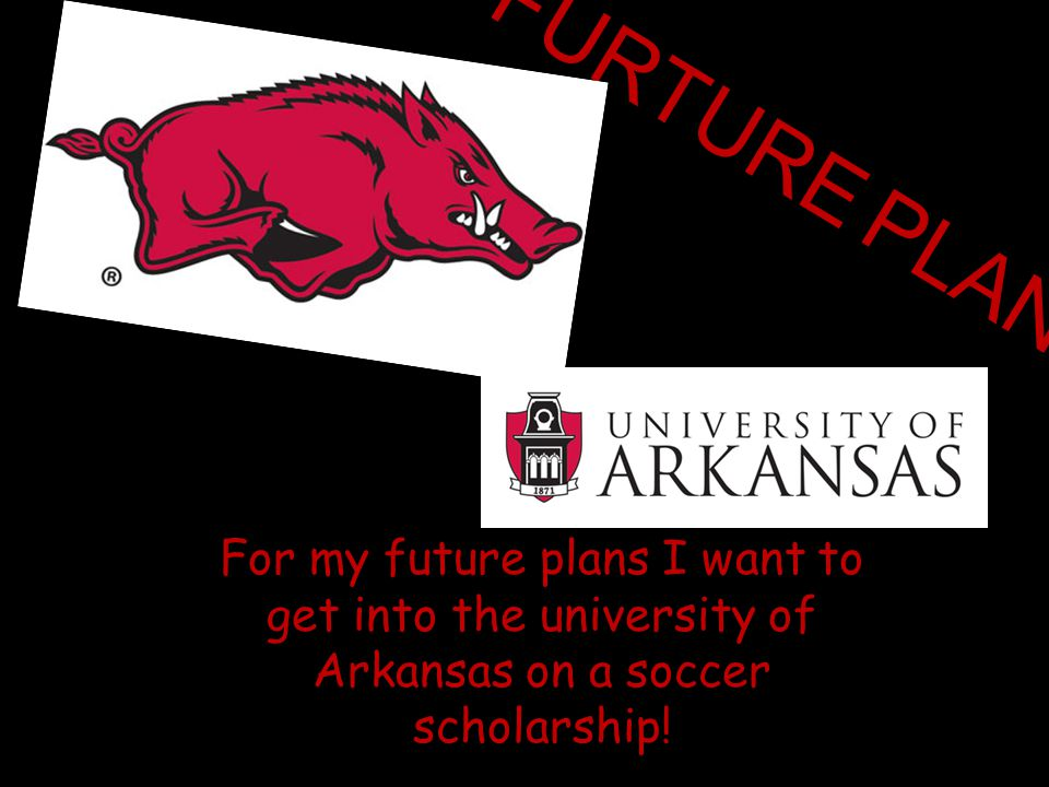 FURTURE PLANS For my future plans I want to get into the university of Arkansas on a soccer scholarship!