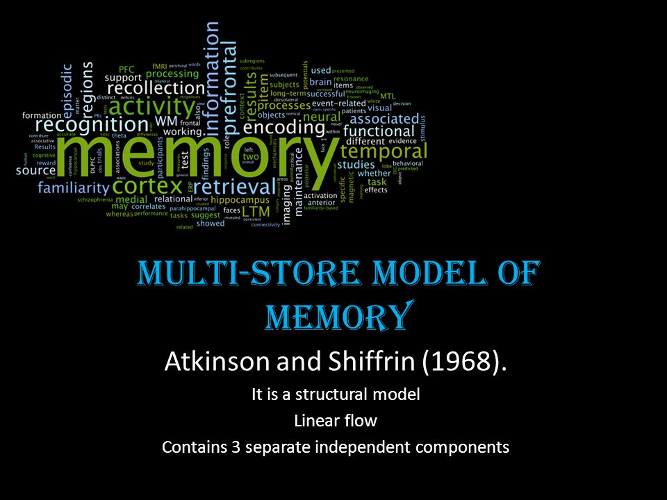 Multi-store model of memory Atkinson and Shiffrin (1968). It is a structural model Linear flow Contains 3 separate independent components
