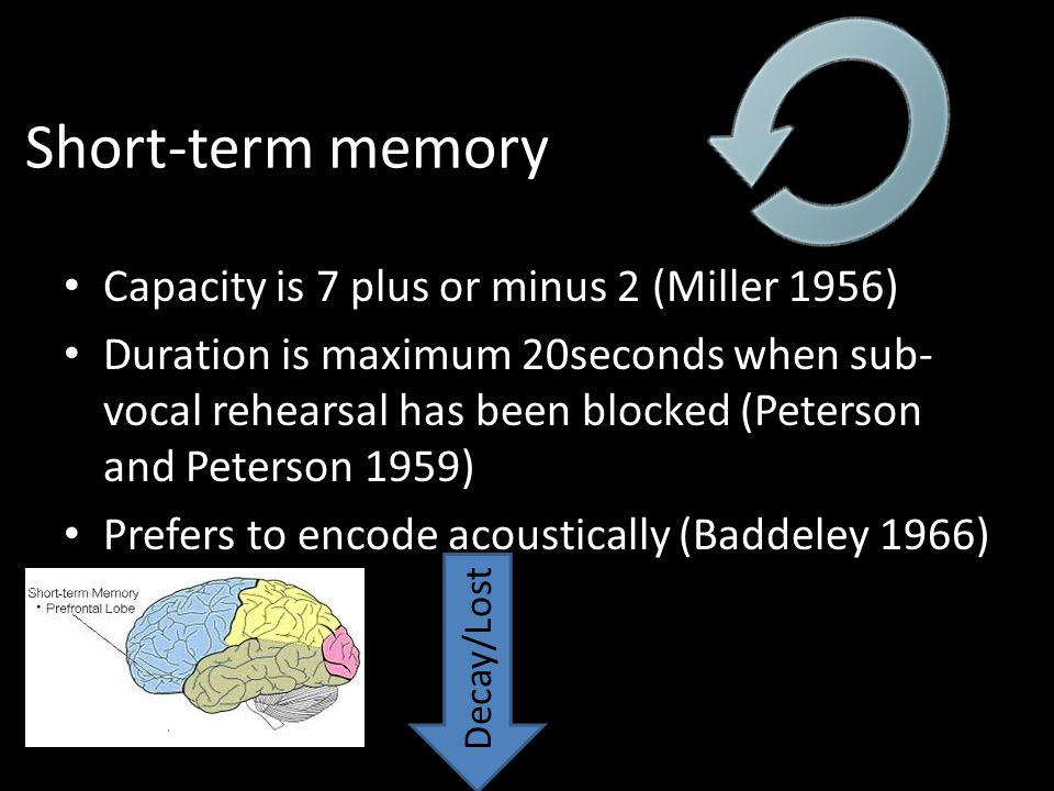 Short-term memory Limited capacity and duration Capacity is 7 plus or minus 2 (Miller 1956) Duration is maximum 20seconds when sub- vocal rehearsal ha