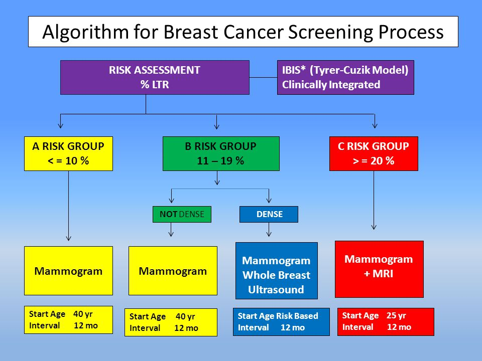 Algorithm for Breast Cancer Screening Process RISK ASSESSMENT % LTR IBIS* (Tyrer-Cuzik Model) Clinically Integrated A RISK GROUP < = 10 % B RISK GROUP