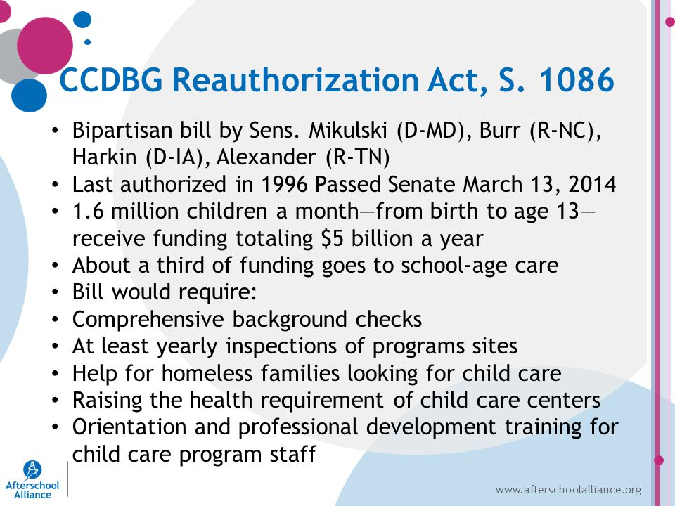 www.afterschoolalliance.org CCDBG Reauthorization Act, S.