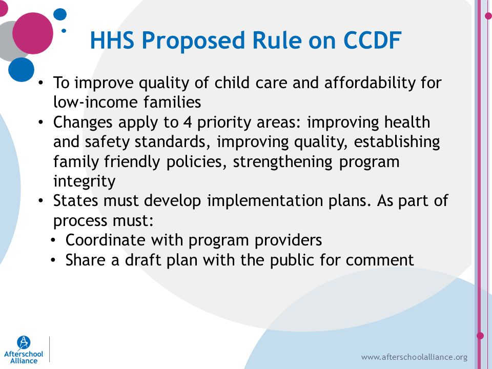 www.afterschoolalliance.org HHS Proposed Rule on CCDF To improve quality of child care and affordability for low-income families Changes apply to 4 priority areas: improving health and safety standards, improving quality, establishing family friendly policies, strengthening program integrity States must develop implementation plans.