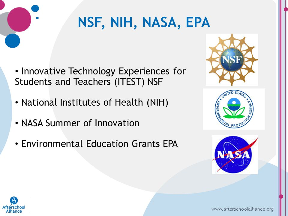 www.afterschoolalliance.org NSF, NIH, NASA, EPA Innovative Technology Experiences for Students and Teachers (ITEST) NSF National Institutes of Health (NIH) NASA Summer of Innovation Environmental Education Grants EPA