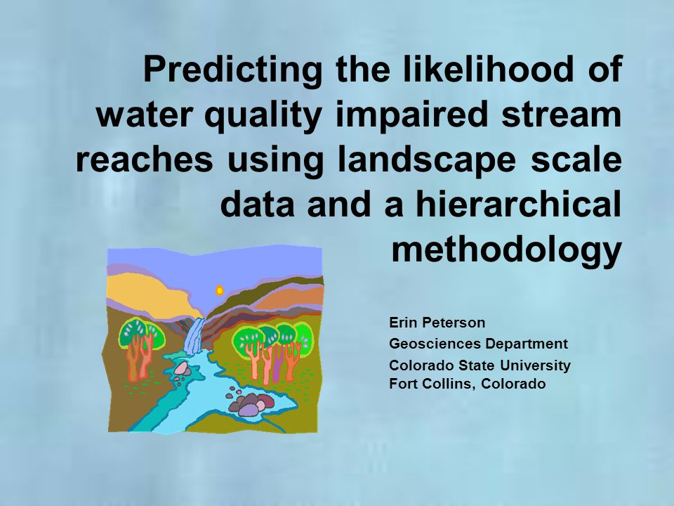 Dataset Selection Colorado Regional Environmental Monitoring and Assessment Program: -Distance between sample points is too great -Mean = 26.16 km -4 pairs had distance < 7 km -Collected during different years -Spatial neighbors, but not temporal neighbors -Sample sites are not connected by flow -16 sites had upstream neighbors -1 site had > 1 upstream neighbor Water chemistry datasets collected from stream networks with spatially dependent sample points are difficult to find!