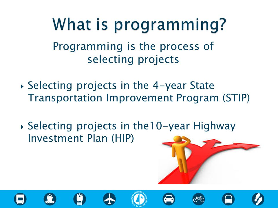  Selecting projects in the 4-year State Transportation Improvement Program (STIP)  Selecting projects in the10-year Highway Investment Plan (HIP) Pr