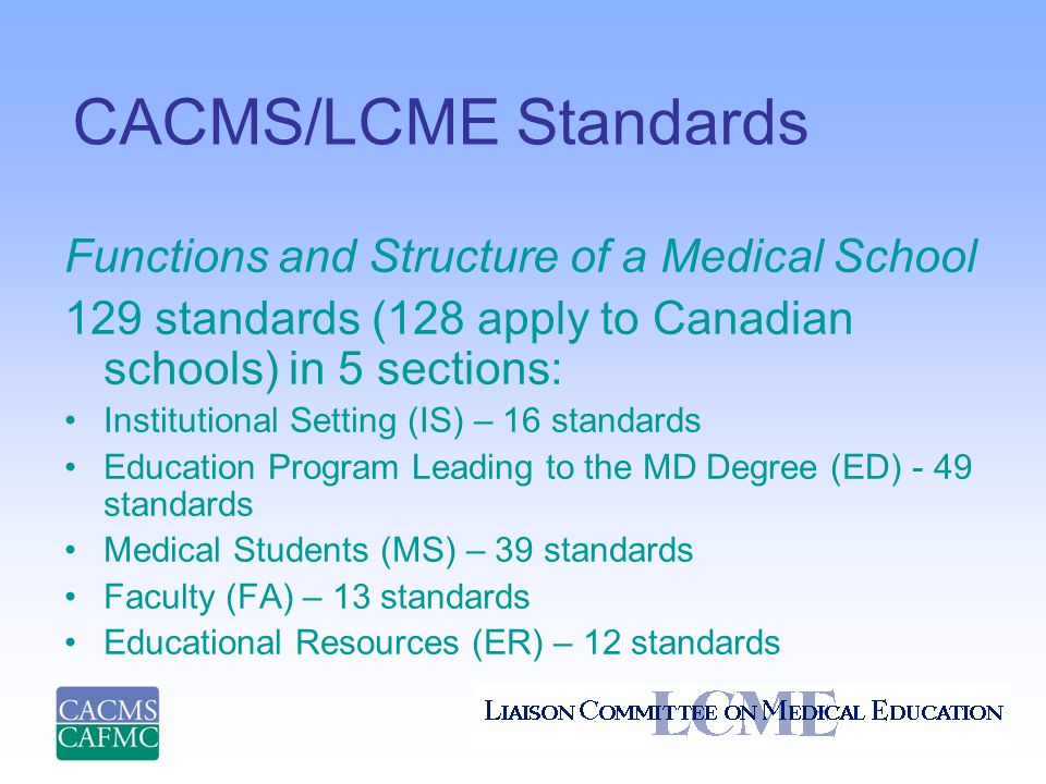CACMS/LCME Standards Functions and Structure of a Medical School 129 standards (128 apply to Canadian schools) in 5 sections: Institutional Setting (IS) – 16 standards Education Program Leading to the MD Degree (ED) - 49 standards Medical Students (MS) – 39 standards Faculty (FA) – 13 standards Educational Resources (ER) – 12 standards