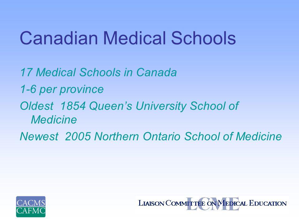 Canadian Medical Schools 17 Medical Schools in Canada 1-6 per province Oldest 1854 Queen's University School of Medicine Newest 2005 Northern Ontario School of Medicine
