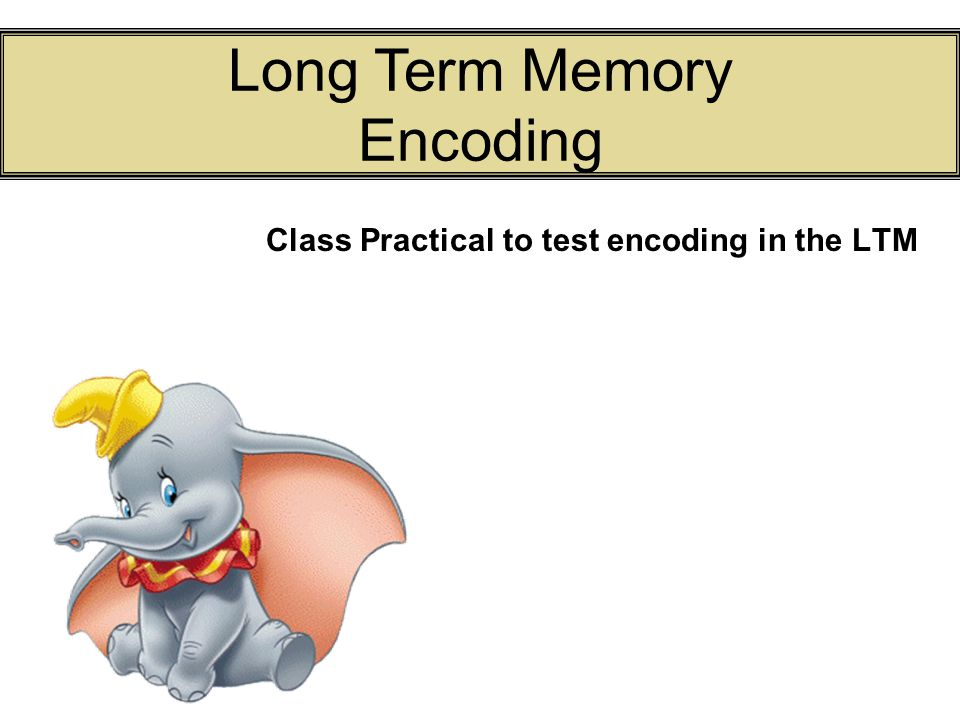 Class Practical to test encoding in the LTM Long Term Memory Encoding
