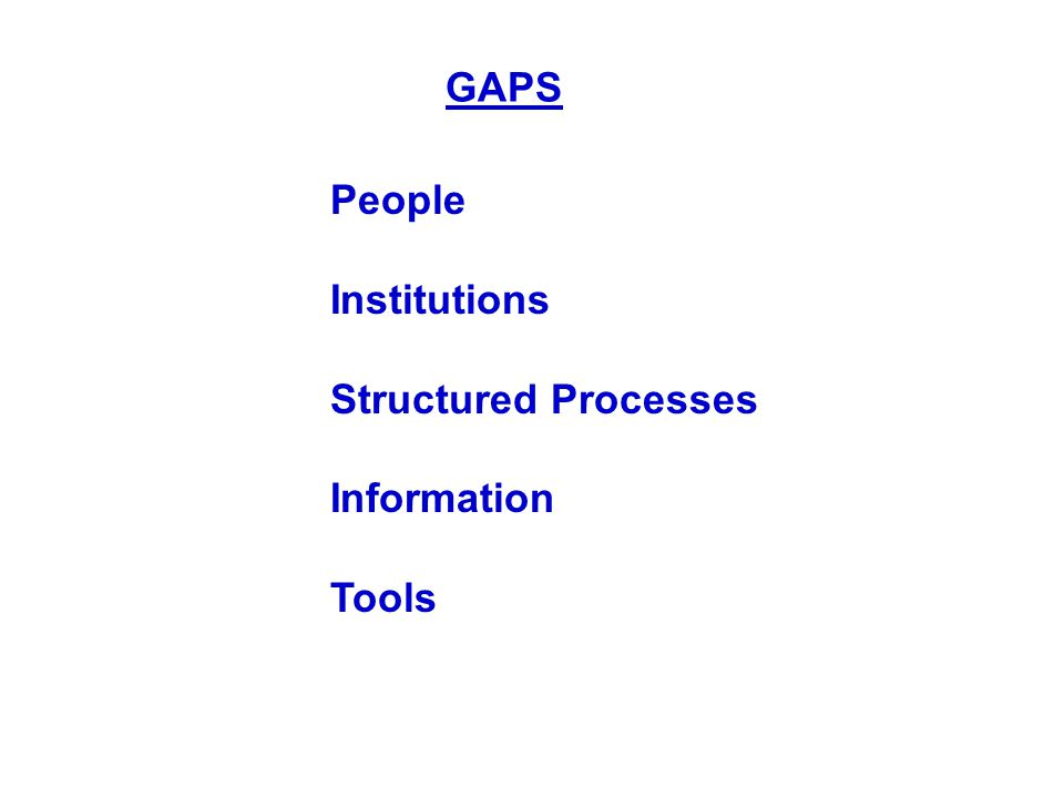 GAPS People Institutions Structured Processes Information Tools
