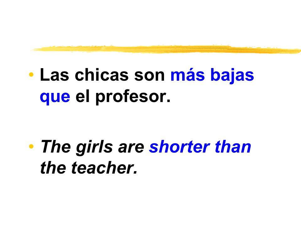 Las chicas son más bajas que el profesor. The girls are shorter than the teacher.