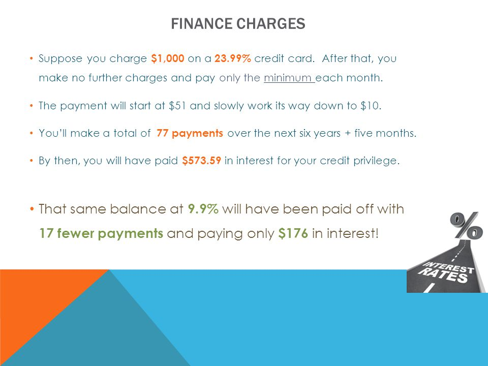 FINANCE CHARGES Suppose you charge $1,000 on a 23.99% credit card.