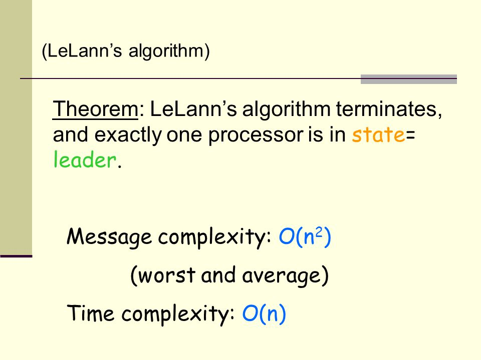 Theorem: LeLann's algorithm terminates, and exactly one processor is in state= leader.
