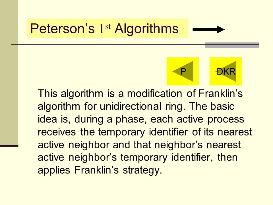 Peterson's 1 st Algorithms This algorithm is a modification of Franklin's algorithm for unidirectional ring.