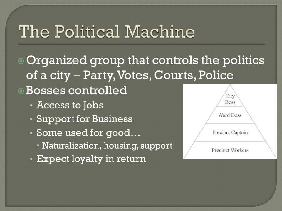  Organized group that controls the politics of a city – Party, Votes, Courts, Police  Bosses controlled Access to Jobs Support for Business Some used for good…  Naturalization, housing, support Expect loyalty in return