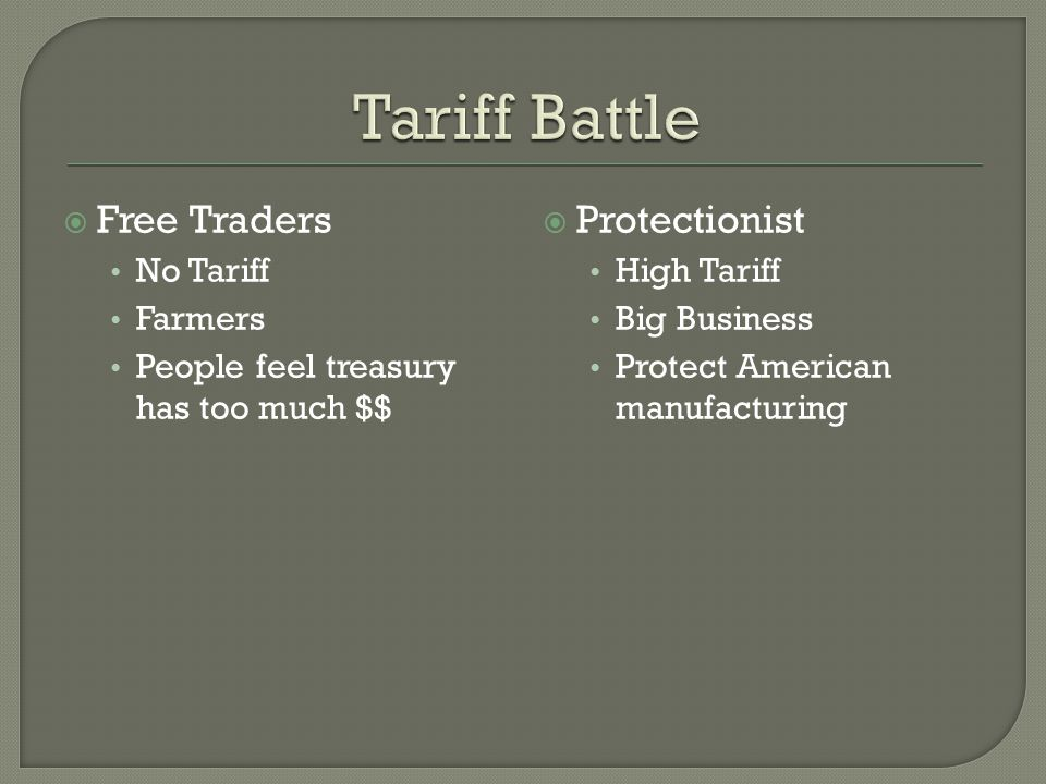  Free Traders No Tariff Farmers People feel treasury has too much $$  Protectionist High Tariff Big Business Protect American manufacturing