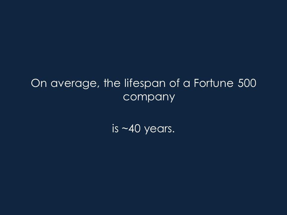 On average, the lifespan of a Fortune 500 company is ~40 years.