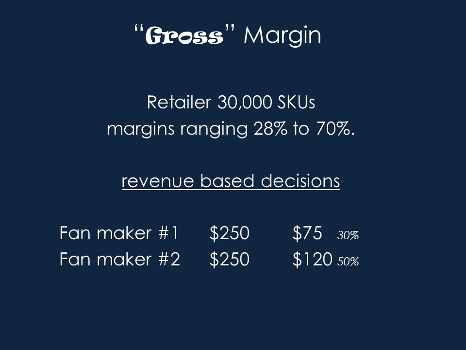 Gross Margin Retailer 30,000 SKUs margins ranging 28% to 70%.