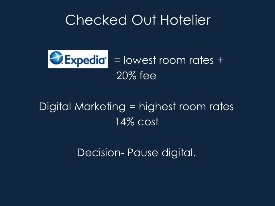 Checked Out Hotelier = lowest room rates + 20% fee Digital Marketing = highest room rates 14% cost Decision- Pause digital.