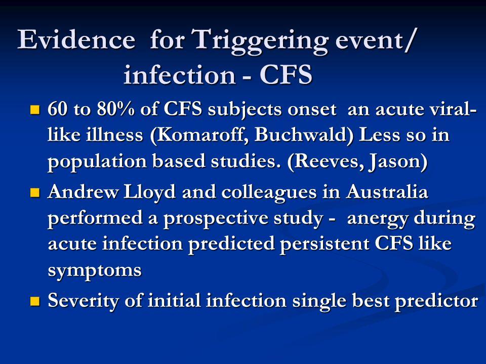 Model of CFS Pathogenesis Genetic Predisposition Triggering event / infection Mediators (Immune, endocrine, neuroendocrine, psychosocial, viral reactivation or persistence) CFS/ME