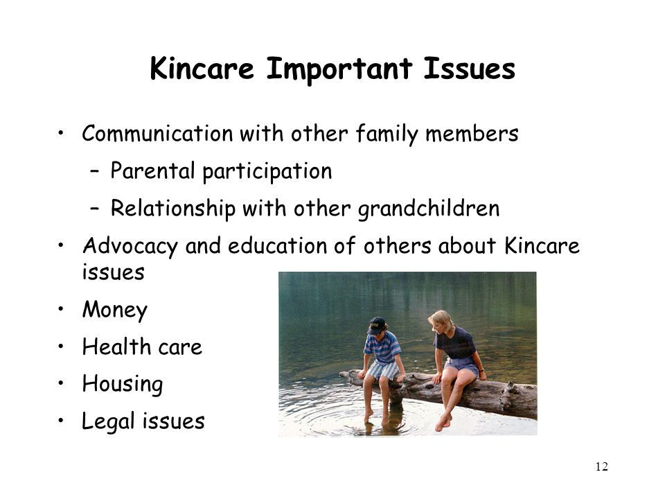 12 Kincare Important Issues Communication with other family members –Parental participation –Relationship with other grandchildren Advocacy and education of others about Kincare issues Money Health care Housing Legal issues