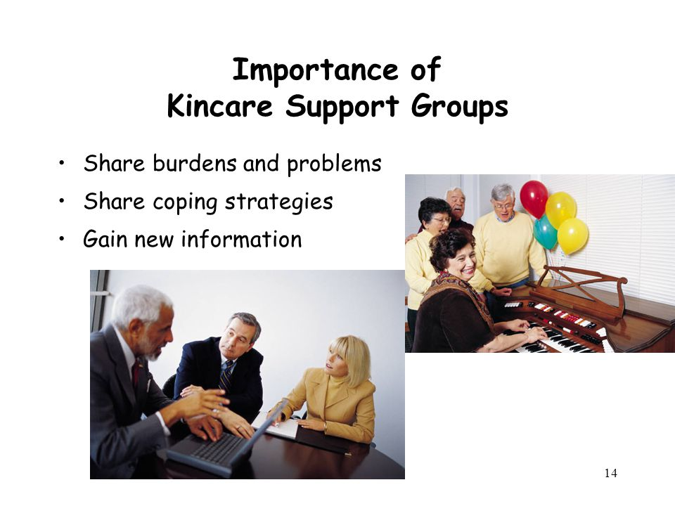 14 Importance of Kincare Support Groups Share burdens and problems Share coping strategies Gain new information